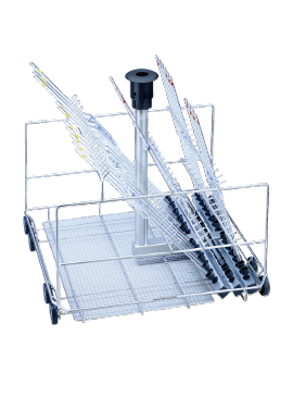 E 404/1 - Mobile unit for the optimum loading of up to 38 pipettes.--stainless steel exterior