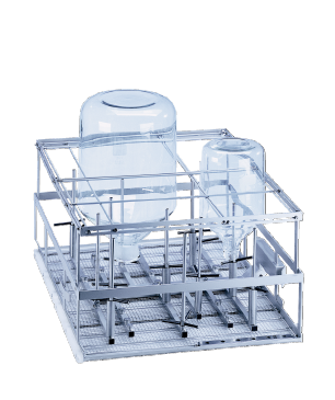 E 957 - Mobile unit for the optimum loading of up to 12 large volume laboratory glassware.--stainless steel exterior