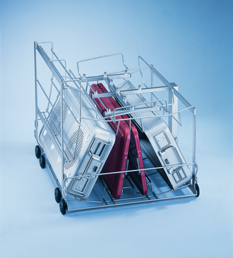 E 528/2 - Mobile unit for optimum loading of 3 small DIN containers including lids.--stainless steel exterior