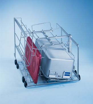 E 527/2 - Mobile unit for the optimum loading of 2 DIN containers including lids.--stainless steel exterior