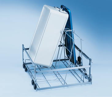 E 711/1 - Mobile unit for optimum loading of 2 DIN containers including lids.--stainless steel exterior