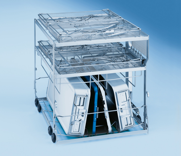 E 713 - Mobile unit for loading of 2 DIN containers including lids as well as 4 mesh trays on 3 levels.--stainless steel exterior