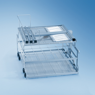 E 729 - Insert for optimum loading of up to 4-5 ophthalmic theatre sets on 3 levels.--stainless steel exterior
