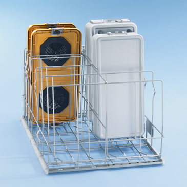E 910/4 - Mobile unit for optimum loading of 6 DIN containers including lids.--Stainless steel