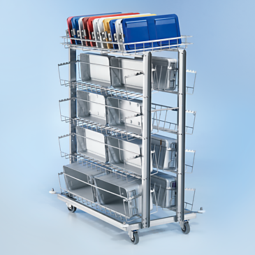 ATW 160 - Mobile unit for optimum accommodation of maximum 8 DIN containers.--stainless steel exterior