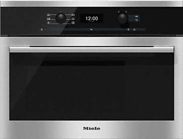 DG 6300 - Built-in steam oven convenient operation with clear text display and retractable controls.--Stainless steel/CleanSteel