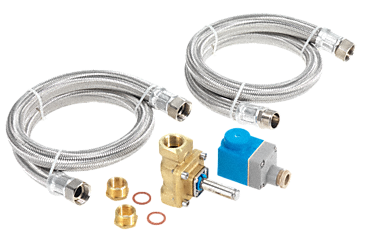 IHW 01 - H2O tumble dryer installation kit Comprising hot water valve, 2 x 100 cm reinforced hoses and 2 reducers.--NO_COLOR