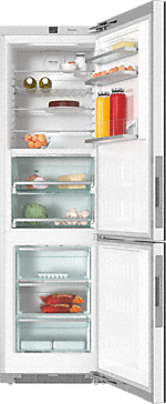 KFN 29683 D obsw - XL freestanding fridge freezer with exclusive glass front, PerfectFresh Pro and FlexiLight.--Obsidian black