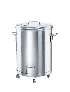AB 60 - Stainless steel waste bin With 4 castors for easy handling--stainless steel exterior