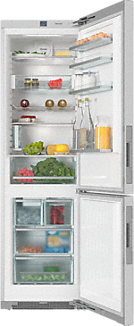 KFN 29493 DE edt/cs - Freestanding fridge-freezer With My Ice, DailyFresh and FlexiLight for maximum convenience.--Stainless steel/CleanSteel