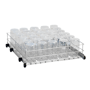 APLW 001 - Mobile unit for optimum loading of laboratory glassware on the lowest level.--stainless steel exterior