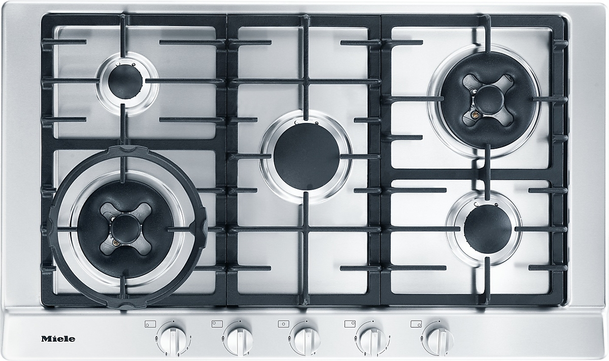 KM 2054 - Gas hob with 2 dual wok burners for extremely versatile cooking  convenience.